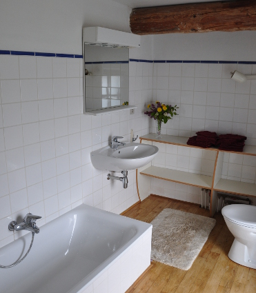 Bathroom with bath, shower, toilet and sink. Adjoining the violin bedroom.